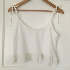 Urban Outfitters The Social T Ruffle Crop Top BDG
